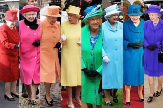 Várias fotos da Rainha Elizabeth II do Reino Unido com vários modelos quase idênticos de vestidos - super encorpados, estruturados e aprova de qualquer vento- o que varia são as cores:vermelho, pink forte, laranja, amarelo ovo, verde água, azul céu, azul naval e rôxo escuro.