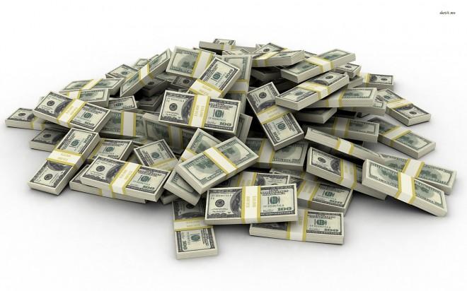 Imagem de muitos pacotes de dólares com a tarjas dos maços