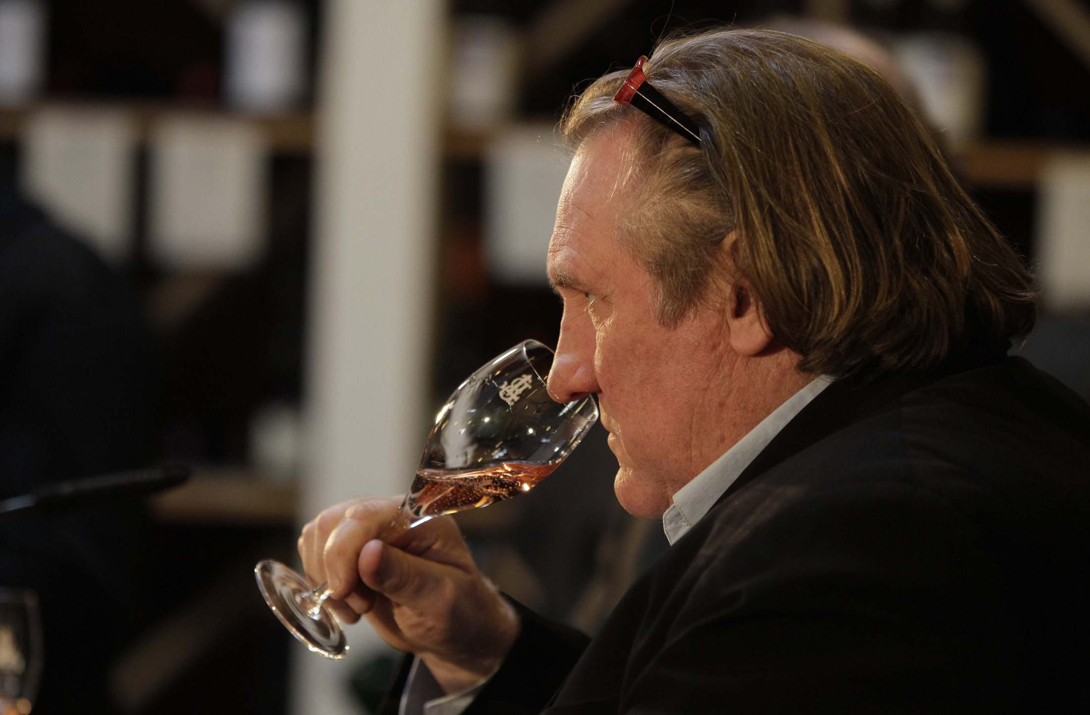 French actor Depardieu tastes his sparkling wine edition in Berlin