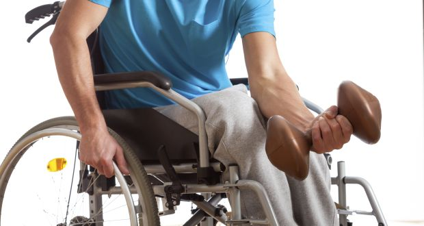 Disabled athlete at gym